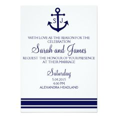 navy nautical wedding invitation