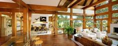 Interior of Tree House by Anderson Studio Of Architecture And Design with lots of wooden furniture