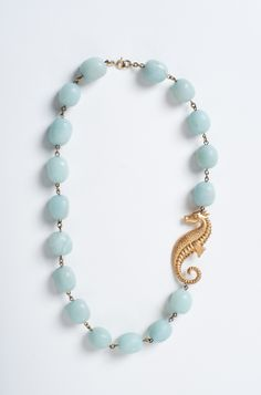 Sea foam Blue Seahorse Critter Necklace by Manic Trout ~