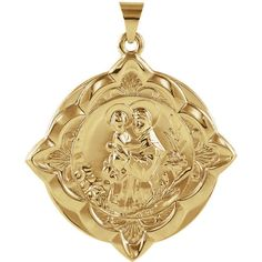 14K Yellow Gold 31x31mm St. Anthony of Padua Medal  #Unbranded