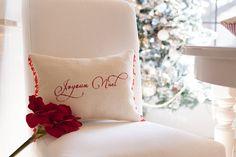 Christmas pillow Burlap french Joyeux Noel. by TheBurlapCottage, $52.00
