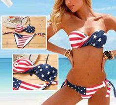 Sexy Women American Flag Bikini Padded Bra Bathing Suit Swimsuit Swimwear