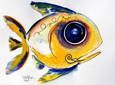 Yellow Study Fish by J Vincent Scarpace Watercolor Fish, Watercolor Paintings, Fish Paintings, Best Bass Fishing Lures, Fishing Games, Yellow Fish, Fish Art, Goldfish, Book Illustration