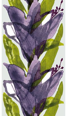 Marimekko Fabric Kylmankukka Violet Gray Sage by greatfabricfinds