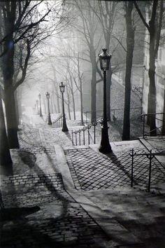 Montmartre, Paris, France, 1936 by Brassai.my favorite place we visited in paris Montmartre Paris, Paris 3, Paris Cafe, Paris 1920s, Black White Photos, Black And White Photography, Black Picture, Oh The Places You'll Go, Places To Visit
