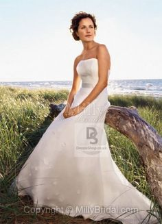 Sweep Train A-line Strapless White Chiffon Floral Wedding Dress at Millybridal.com