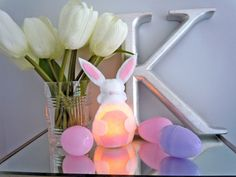 DIY Bunny Night Light... would be very cute in a baby's room or anywhere in your house around Easter.