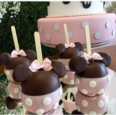 Chocolate covered Minnie Mouse Candy Apples
