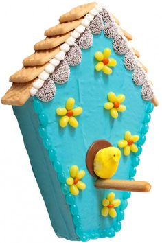 Birdhouse Cake: how fun would it be to make this for Easter?