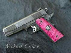 Love the pink grips, minus the symbol Revolver, 1911 Pistol, Home Defense, Self Defense, Pink Guns, Love Gun, Firearms, Handgun, Fire Powers