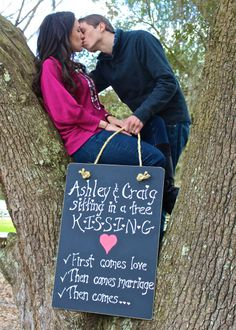 What A Cute Baby Announcement... would even be cute to do one pic at the engagement, another at the wedding, then this as the final.