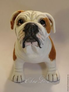 Needle feted Bulldog - what a cutie!  by Yelena Lvova from Russia