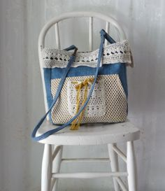 Repurposed Vintage Crochet Apron and Denim Jeans Purse Tote Bag Again