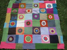 Multi Colored  Wool Sweater Blanket  Upcycled Sweater by LazyGal, $250.00