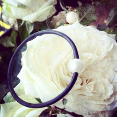 different view of our pearl and rubber bangle. loving it. what do you think? not on the web yet, contact us for more details  www.arianerocherjewellery.com