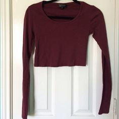 Topshop Burgundy Long Sleeve Crop Top Burgundy long sleeve crop. NEVER worn. Topshop Tops Crop Tops