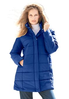 42f6aded7f9c4 Classic-Length Quilted Parka with Faux-Fur Hood
