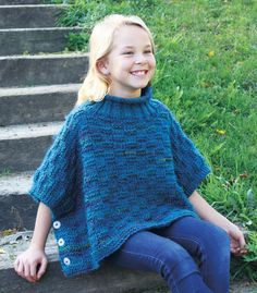 Warm, textured knit poncho with side buttons. Shown in Hot Springs or choose any Mary Maxim Aspen color. Poncho Knitting Patterns, Crochet Poncho, Knit Patterns, Knitting For Kids, Free Knitting, Baby Knitting, Knitting Projects, Kids Poncho, Poncho Tops