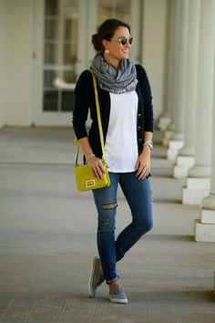 Cardigan, scarf, and jeans. I like this look (with jeans slightly less form-fitting and no rips).