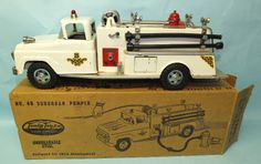 RARE 1959 TONKA #46 SUBURBAN PUMPER WHITE FIRE TRUCK PRESSED STEEL TOY & BOX   Toys of Times Past