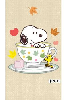 Snoopy Sitting in a Teacup With Woodstock Sitting on the Saucer