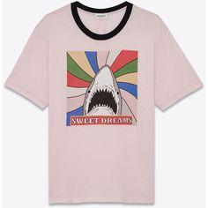 "Saint Laurent Short Sleeve ""sweet Dreams"" Shark Ringer T-shirt ($390) ❤ liked on Polyvore featuring men's fashion, men's clothing, men's shirts, men's t-shirts, tops, t-shirts, mens leopard print t shirt, mens crew neck t shirts, mens short sleeve t shirts and yves saint laurent mens shirt"