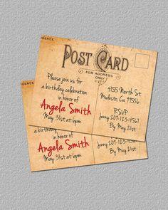 Printable Vintage Postcard Invitations