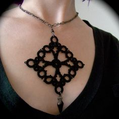Tatted Pendant Necklace  Patonce Cross by TotusMel on Etsy, $35.00