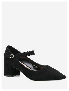 9402f28c657 Pointed Toe Block Heel Pumps (Black)