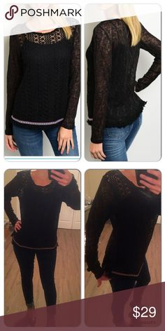Long sleeve Black Knit Sweater Really pretty sweater soft and cozy yet lightweight!!. I have on a black tank underneath. This sweater has some fun decor on the bottom as well as some frill ! 100%rayon Sweaters Crew & Scoop Necks