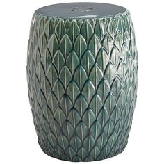 You don't have to be a zen master to bring a sense of peace to your home. Just add the Elin Garden Stool, hand-embossed in a tranquil green. Use it as a seat or an accent table outdoors amongst the bamboo and koi pond, or indoors, even if it's non-feng shui.