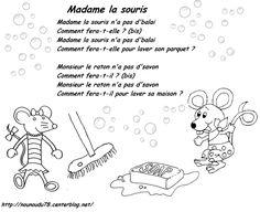 La comptine Madame la souris Chant, Madame, Passion, Comics, Kids, Fictional Characters, Nursery Rhymes, Songs, Computer Mouse