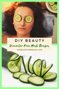 Homemade Cucumber DIY Face Mask for Glowing Skin. If you love face mask recipes … Homemade cucumber DIY facial mask … Cucumber On Eyes, Cucumber Face Mask, Cucumber Beauty, Face Mask For Spots, Diy Face Mask, Charcoal Mask Peel, Homemade Facial Mask, Facial Masks, Glowing Skin