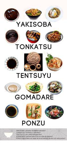 Japanese varieties dishes and sauces Japanese Sauce, Japanese Food Sushi, Japanese Kitchen, Japanese Dishes, Tonkatsu, How To Make Sushi, Oriental Food, Sashimi, I Love Food