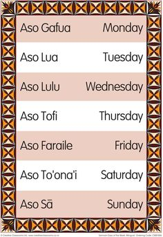 Days of the Week Samoan Bilingual Chart | Pasificai Resources