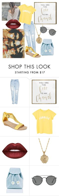 """""""Summer With Friends"""" by merylrs ❤ liked on Polyvore featuring Topshop, Oliver Gal Artist Co., Kenneth Cole Reaction, MANGO, Lime Crime, 2028, Sugarbaby and Ray-Ban"""