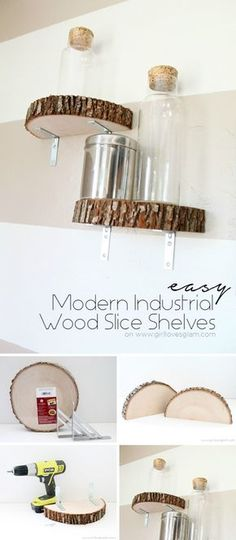 Shelving not only provides a perfect storage solution, but also adds decoration to your home. We have 48 Stylish DIY Shelves here. You can easily make your own things without spending a lot of money. These ideas include using DIY wooden shelves in t Diy Wooden Shelves, Wooden Diy, Floating Shelves, Diy Interior, Wood Slices, Home Projects, Wood Crafts, Diy Furniture, Diy Home Decor