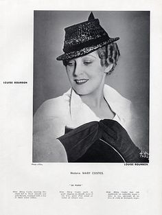 Louise Bourbon (Millinery) 1934 Mary Costes