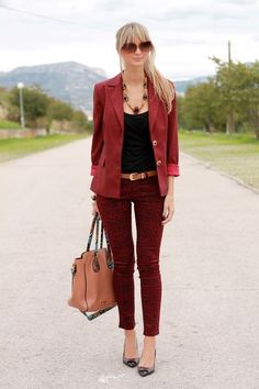 Red matching formal casual look