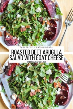 Roasted Beet and Arugula Salad with Maple Balsamic Vinaigrette, goat cheese, maple-toasted pecans, and dried cranberries. An easy salad recipe loaded with antioxidants and health benefits #glutenfree #saladrecipe #salad #arugula #beets #roastedbeets #pecans #goatcheese #vegetarian Beet Recipes, Easy Salad Recipes, Easy Salads, Good Healthy Recipes, Easy Dinner Recipes, Wine Recipes, Healthy Eats, Beet Goat Cheese Salad