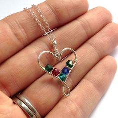 wire heart birthstone pendant 4 crystals - handmade jewellery (9)