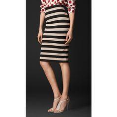 Burberry Striped Pencil Skirt