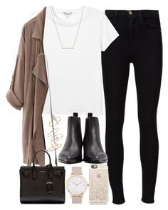 """Outfit for work with a beige coat"" by ferned ❤ liked on Polyvore featuring Frame Denim, Monki, Topshop, WithChic, Bungalow 20, Yves Saint Laurent, Casetify, Acne Studios and The Horse"