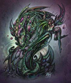 524c5eee3af Liquid Dragon by David Bollt. Free Hand DrawingWater DragonFlash ArtCanvas  ...