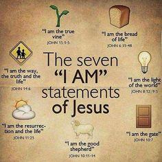 "Bible verses - The seven ""I Am"" statements of Jesus. Bible Scriptures, Bible Quotes, Jesus Bible, Jesus I Am, Jesus Book, Jesus Faith, Prayer To Jesus, Wisdom Quotes, Catholic Bible Verses"