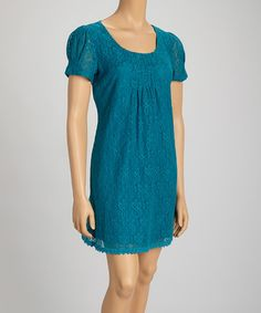Look what I found on #zulily! Teal Lace Pleated Short-Sleeve Dress - Petite by Jessica Howard #zulilyfinds