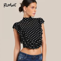 Polka Dot Cute Ruffle Crop Blouse 2018 Bow Tie Slit Back Women Frill Trim Sexy Tops Fashion High Neck Elegant Slim Blouse Crop Blouse, Black Blouse, Collar Blouse, Blouse Dress, Look Fashion, Fashion Outfits, Womens Fashion, Top Mode, Polka Dot Crop Tops
