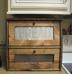 Rustic Bread Box Vegetable Bin Storage by dlightfuldesigns on Etsy,Absolutely love this! Vegetable Storage Bin, Potato Storage, Vegetable Bin, Bin Storage, Rustic Bread Boxes, Wooden Bread Box, Vintage Bread Boxes, Cheap Kitchen Backsplash, Kitchen Redo