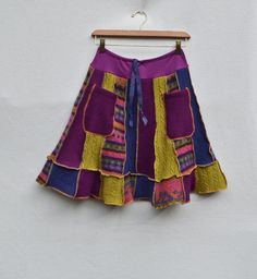 Upcycled Clothing Women's Wool Sweater A-Line Skirt Purple Green Blue w Pockets and Elastic Waistband Patchwork Recycled Knee Length Eco. $72.00, via Etsy.