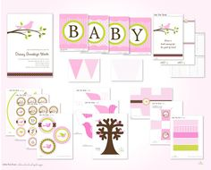 Little Birdie Baby Shower Printable Party by FrogPrincePaperie